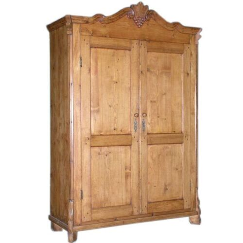Antique Pine Armoire, ca. 1860 with Carved Crown! A945