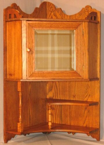 ANTIQUE CHESTNUT FLOOR STAND WALL HUNG CORNER CUPBOARD