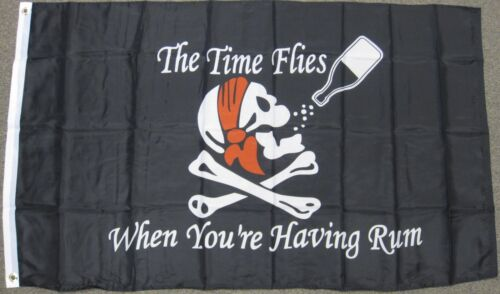 3X5 TIME FLIES WHEN YOUR HAVING RUM PIRATE FLAG F798