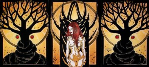 SET OF 3 Gothic Eve with Devil comic FANTASY ART