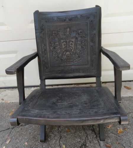 Wood Baroque Central American Tooled Leather And Wood Chair