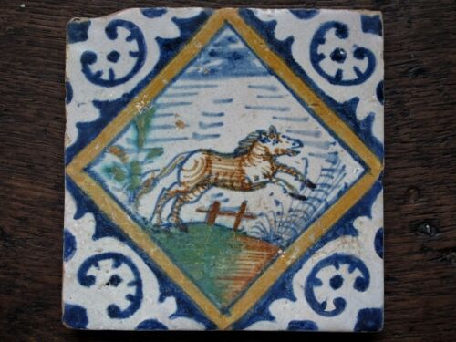 An Authentic Dutch Delft tile with a polchrome horse or pony in gallop...