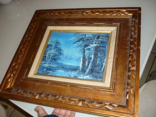 Vintage Antique 1950's Framed Painting Picture Art - Oil on Canvas - Hand Carved