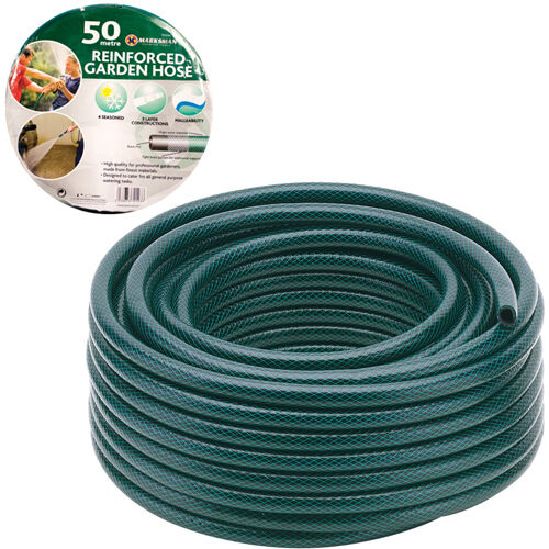 50M GARDEN HOSE PIPE REEL REINFORCED TOUGH 50 METRE OUTDOOR HOSEPIPE GREEN NEW <br/> SPECIAL OFFER FOR 1 DAY ONLY!! PRICE WONT BE BEATEN!!!!