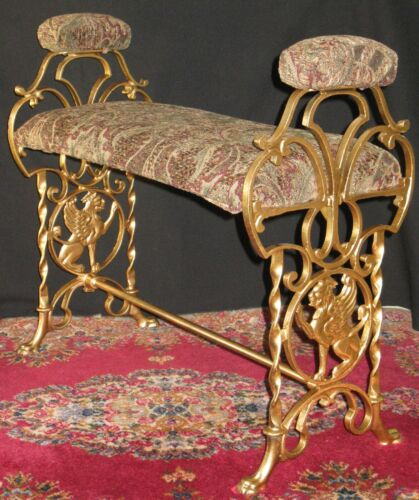 ANTIQUE DECORATIVE METAL VANITY PIANO BENCH GRIFFINS HAND/ARM RESTS CAMEL FEET