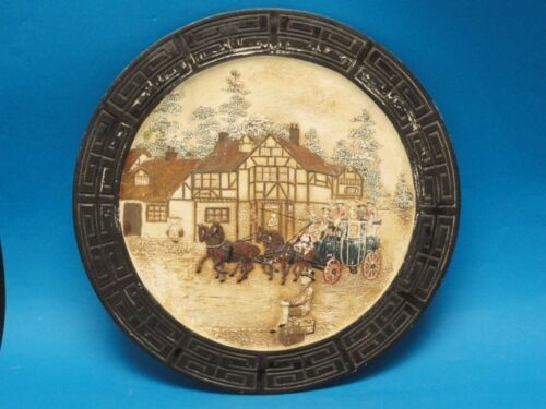 LARGE BRETBY WALL PLAQUE COACHING INN SCENE 2938 AESTHETIC MOVEMENT