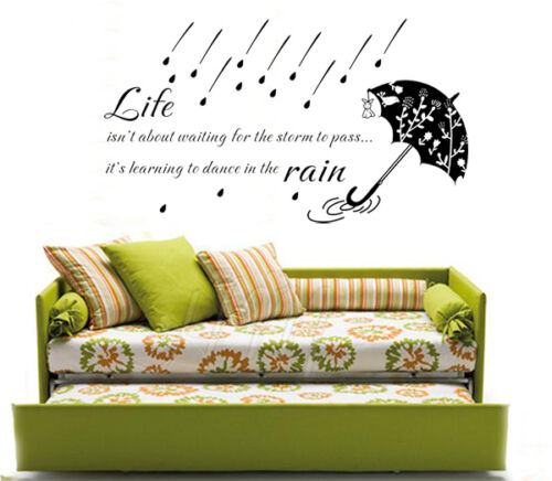 """LIFE INSPIRATION Wall Art Quote Decal """" Life isn't about waiting..............."""""""