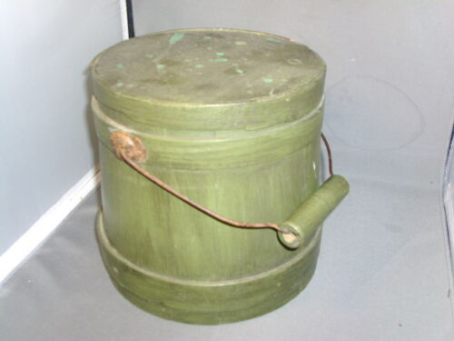 Antique Firkin 19th c. American Federal Paint Decorated Wood Pantry Box Shaker