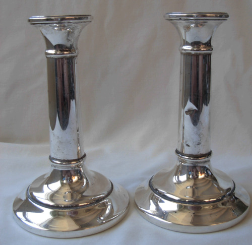 PAIR OF ENGLISH  STERLING SILVER WEIGHTED CANDLESTICKS -BIRMINGHAM ENGLAND