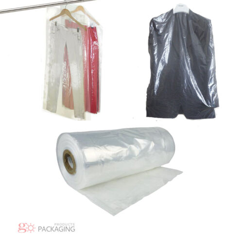 """Garment Cover Clear Polythene Bags 72"""" Dry Cleaner Laundary Clothes Packing"""