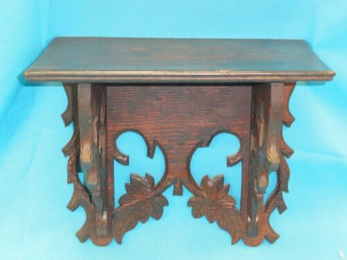 ANTIQUE EARLY-MID 19 CENTURY ELABORATE CARVED OAK WALL SHELF BRACKET