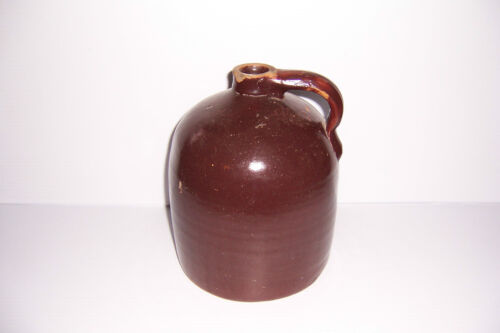 "ANTIQUE  PRIMITIVE SALT GLAZED STONEWARE CROCK JUG 9 1/4"" TALL"