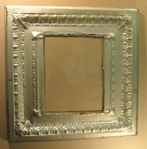 Antique TIN CEILING Metal 11x14 SILVER Picture Frame Shabby Recycled #1492-13