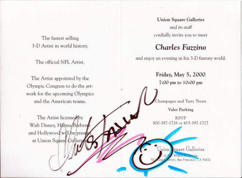 Charles Fazzino - Signed VIP Gallery Invite. Official NFL Artist