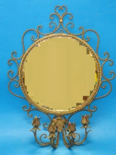 ANTIQUE ELABORATE TWIST IRON GILDED MIRROR with  CANDLE SCONCE