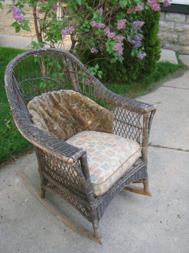 Antique Wicker Rocker Rocking Chair original cushions Furniture  Pick Up Only