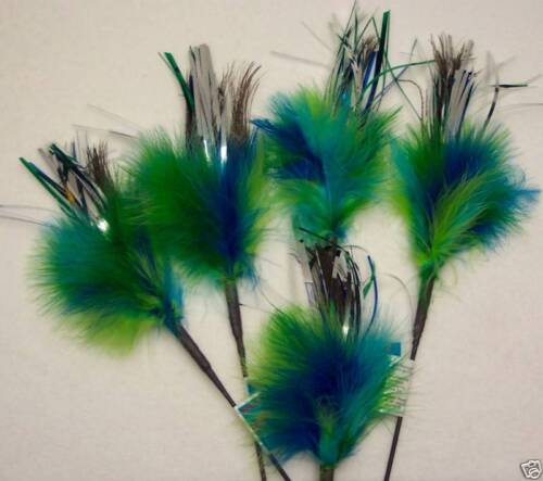 5 lot MYLAR PEACOCK SPARKLER wand cat toy toys kitten Free Shipping