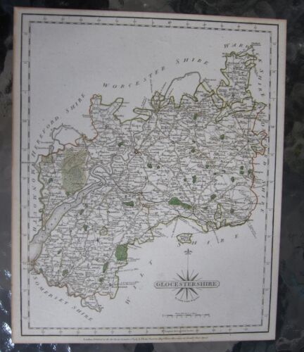 fine antique hand colored mat Glocestershire UK John Cary 1787