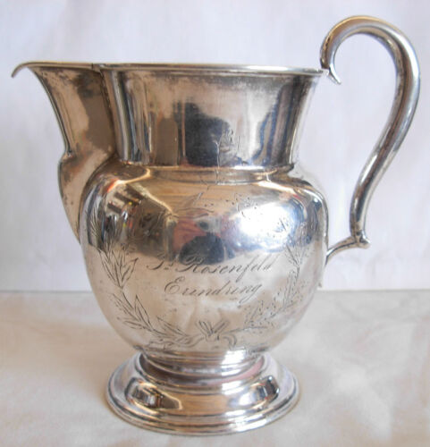 1865 DANISH SILVER ENGRAVED MILK JUG BY SIMON GROTH JUDAICA-ROSENFELD ERINDRING