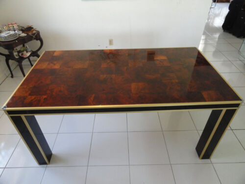 EXTRAVAGANT CHIC 70s BRASS & CHROME WILLY RIZZO OLIVE WOOD BURL DINING TABLE