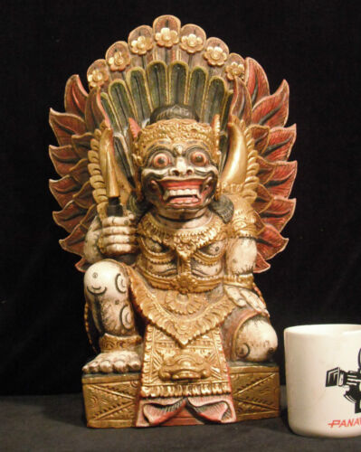 "Super Rare Large Wood Carving of Ravana from the Ramayana 19"" Tall (48 cm) Nice"