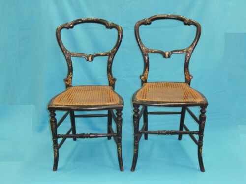 PAIR ANTIQUE 19c NAPOLEON III EBONIZED MOTHER OF PEARL INLAID PARLOR CHAIRS