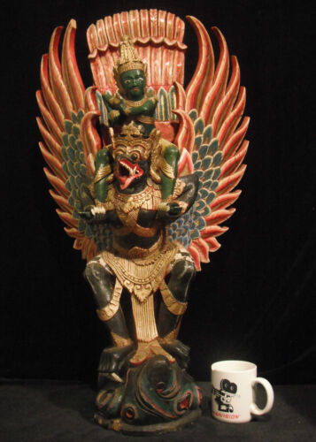 "Huge 33"" inch (84 cm) Rare Hardwood Carving Vishnu Being Carried by Garuda Bali"