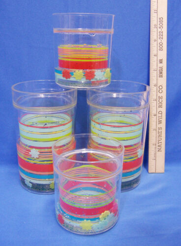 Set 4 Poly Freeze Freezer Mugs Cups Insulated Drinking Glasses Striped Flowers