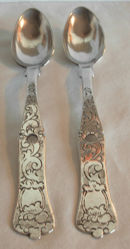 PAIR OF ANTIQUE TURKISH OTTOMAN STERLING  SILVER TEA SPOONS - 71.2 grams