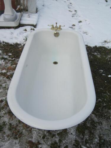 Antique 5 1/2'+ Cast Iron White Porcelain Tub Old Bath Vintage Bathroom #2659-13