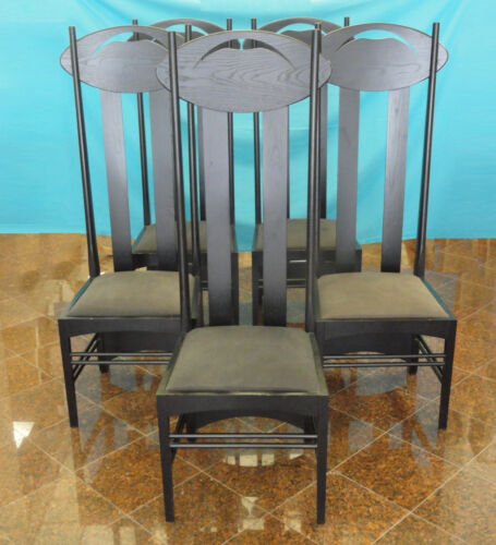 SET of 3 ARTS & CRAFTS EBONIZED ASH WOOD CHAIR IN MANNER OF MACKINTOSH ARGYLE