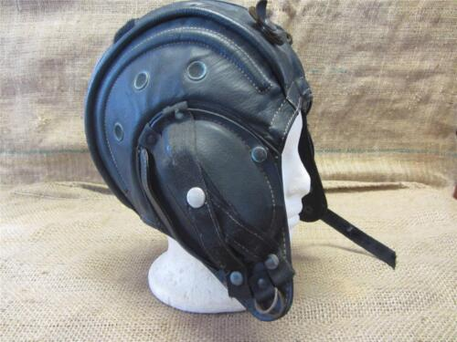Vintage 1970s Leather Military Tank Helmet Antique War Field Equipment Gear 8606