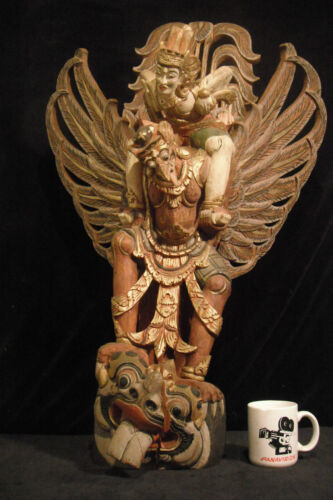 "Huge Antique 35"" Tall (89 cm) Balinese Wood Carving Lord Vishnu Riding Garuda"