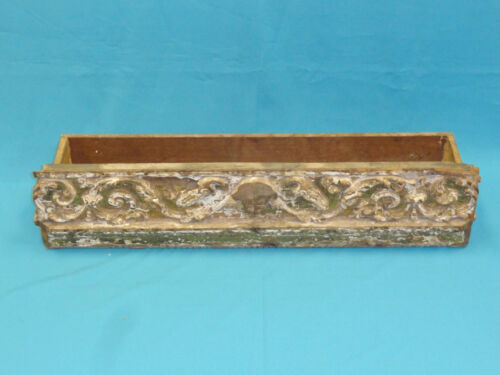 ANTIQUE SPANISH COLONIAL ARCHITECTURAL GOLD LEAF CARVED WOOD PANEL CONV. PLANTER
