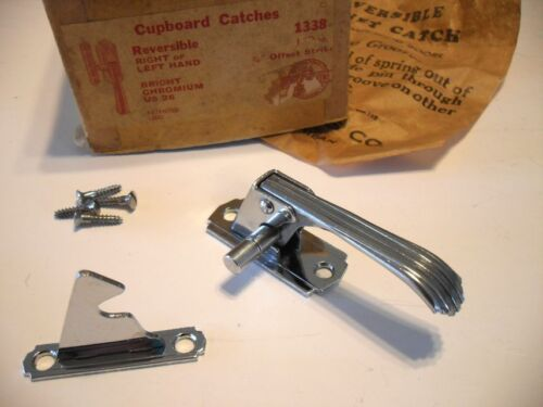 Vtg NOS CHROME Hoosier Cupboard Cabinet Door Offset Latch Reversible Left/Right