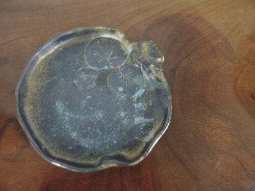 Antique Bronze McClelland Barclay Lilly Pad Dish Plate Desk Ornament Chinese