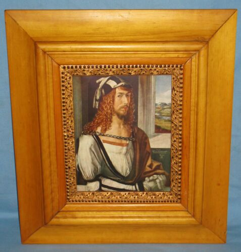 "ANTIQUE PINE & MAPLE 3-PART FRAME w/VINTAGE PRINT ALBRECHT DURER ""SELF PORTRAIT"""