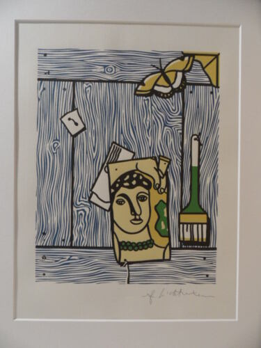"Roy Lichtenstein ""Trumper with léger head and brush"" Lithograph plate signed"