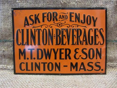 Vintage Embossed Clinton Beverages Sign > Antique Old Signs Soda Drink RARE 8825