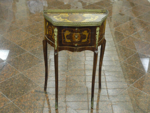 ANTIQUE CONTINENTAL ELABORATE WOOD INLAID OCCASIONAL SIDE TABLE w/ BRONZE MOUNT