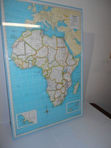 HAMMOND SUPERIOR MAP OF AFRICA WITH BLUE METAL FRAME
