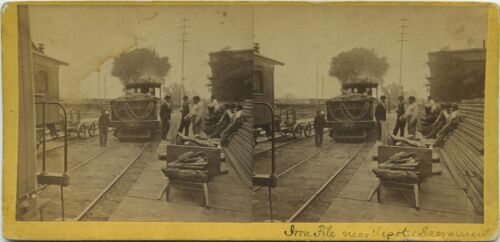 Alfred Hart, CPRR (1860s) Locomotive # 1, the Gov. Stanford next to the RR docks
