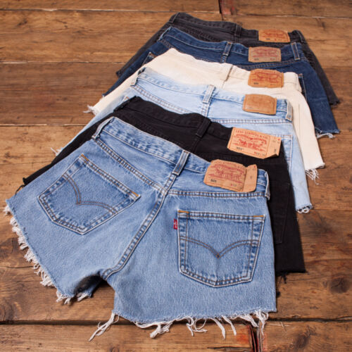 Womens Vintage Levis Shorts Denim 501 Grade A High Waisted Size 6 8 10 12 14 16