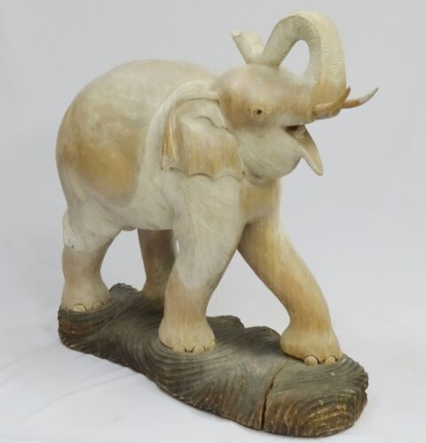 "HUGE CARVED WOOD ELEPHANT FIGURINE * AMAZING ONE OF A KIND ~ 36"" x 36"""