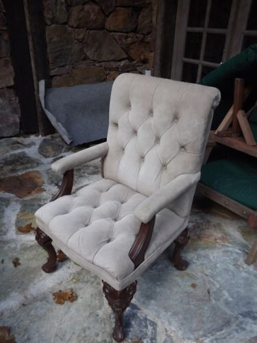 Elegant chairs in grey suede with carved hardwood frames in excellent condition