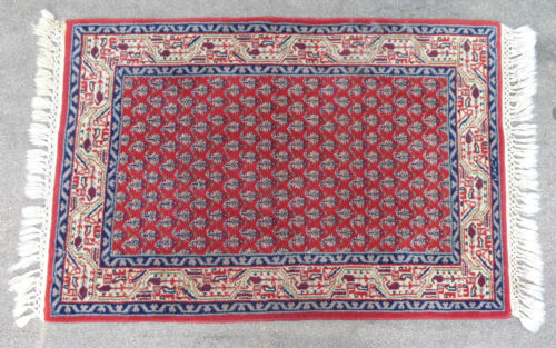 """fine  25"""" x 36 1/2"""" hand knotted oriental rug red paisley field"""