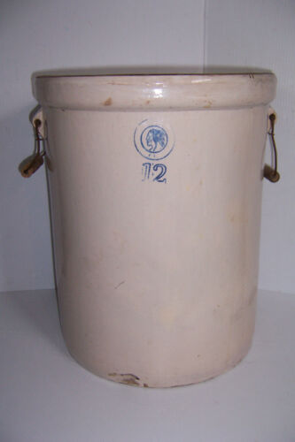 Antique Louisville Pottery Co. Indian Head # 12 Stoneware Crock Wire Handle