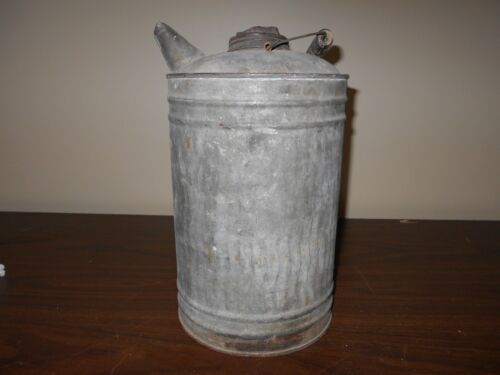 ANTIQUE VINTAGE TALL METAL CAN WITH SPOUT