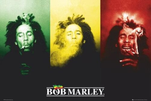 Bob Marley 3 Faces Smoking Music Poster Art Print 24x36 inch Rastafarian Zion