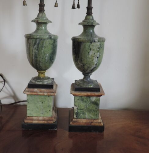 Pair 19th century Antique Marble Urn Lamps Grand Tour Mantle Garniture Vase